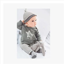 Retail 2015New Spring and autumn baby boy clothes 100 cotton 3pcs Hat T shirt pants The