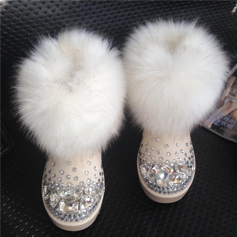 Female snow boots winter boots fox fur snow boots ankle boots thermal handmade rhinestone gem slip-resistant platform<br><br>Aliexpress