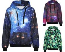 2015 Autumn Winter Galaxy Print Punk Women Hoodies New Fashion Leaf Print Coat With Pocket Digital Print Hooded Pullovers(China (Mainland))
