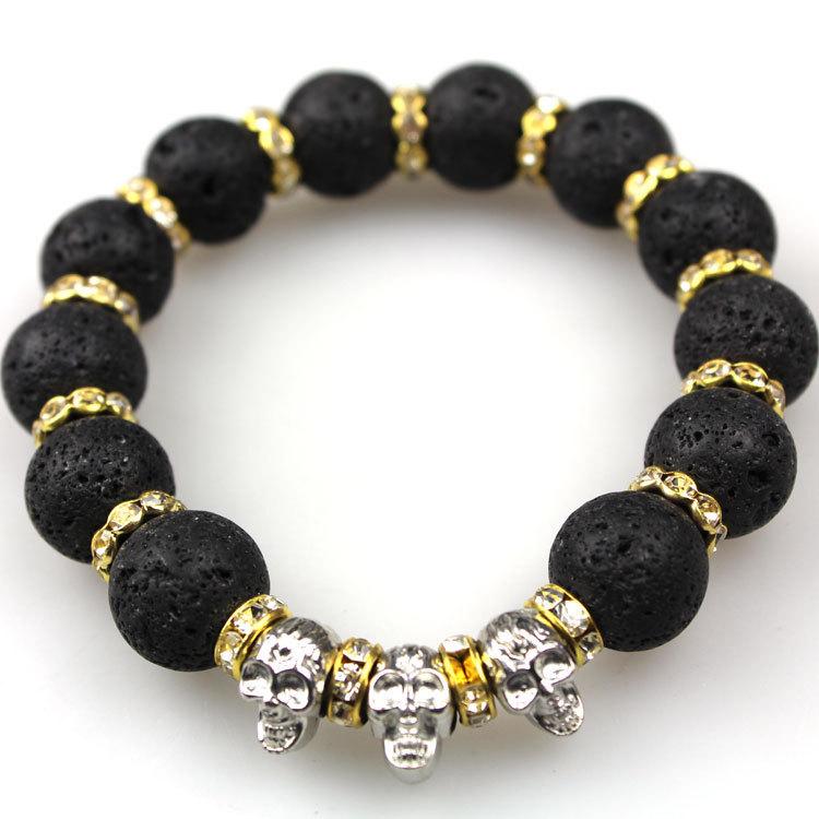 CM493 2015 New Lava Stone beads Skull Men Bracelets Gold plated Skull Black Yoga bracelet Unisex
