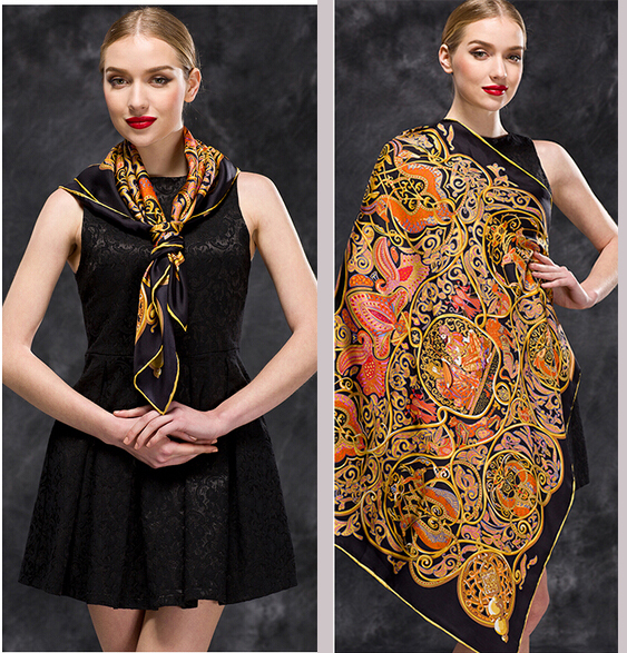 pure silk twill black paisley shawls and scarves Winter Autumn Pashmina Scarves 2016 apparel accessories free shipping(China (Mainland))