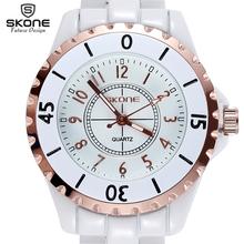 SKONE Original Brand Luminous Hand Fashion Watches Women Rose Gold Bezel White Ceramic Analog Quartz Watch Ladies reloj mujer