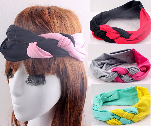 One Piece 14Colors 2015 New European Fashion Sport Headband Cotton Patchwork Knotted Weave Tie Soft Stretchy Women Headband(China (Mainland))