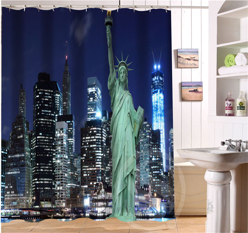 New york city personalized custom shower curtain bath for Curtains and drapes nyc