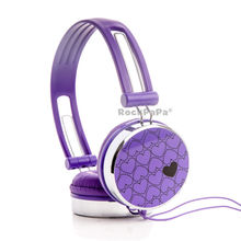 Boys Kids Girls Children Teens Adult Rockpapa Hearts Love DJ Headphones Headsets Earphones for Galaxy Tab Pro / Tablet PC Purple