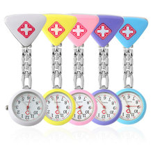 Free shipping Clip Nurse Doctor Pendant Pocket Quartz Red Cross Brooch Nurses Watch Fob Hanging Medical(China (Mainland))