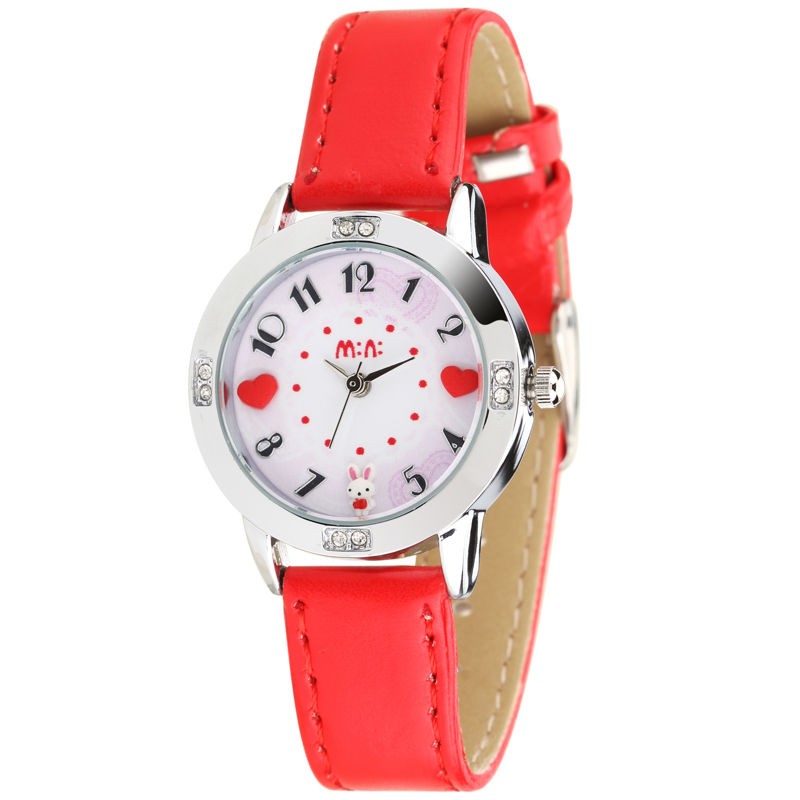 Original korean brand mini girls handmade clay heart rabbit watch children real leather wrist for Watches brands for girl