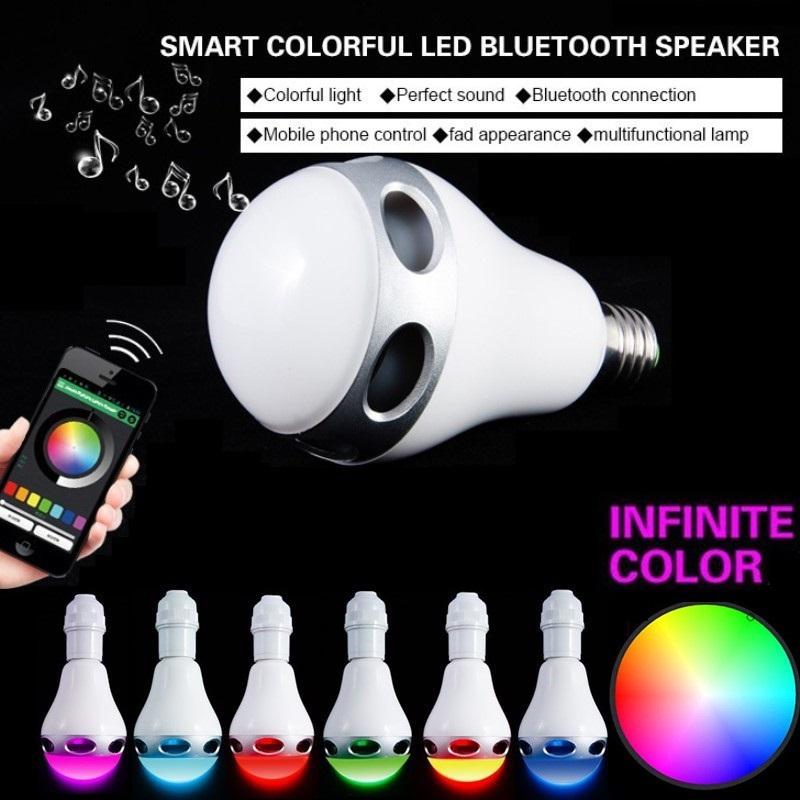 Wireless Bluetooth 4.0 Speaker E27 Base Music Player Smart Sound Box RGB Colors LED Light Bulb<br><br>Aliexpress