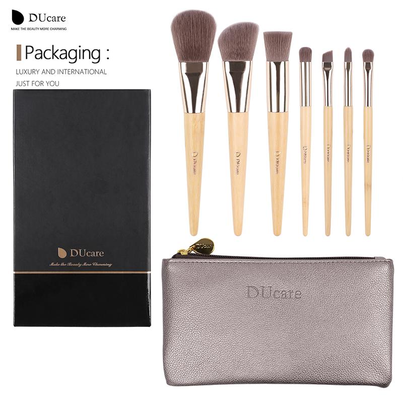 DUcare Makeup Brushes 7Pcs professional makeup brush set Bamboo Foundation Eyeshadow brush with Leather bag make up tools(China (Mainland))