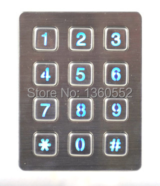 Rugged vandal proof illuminated 12 keys metal numeric keyboard Stainless steel keypad with leds for access control system, kiosk(China (Mainland))