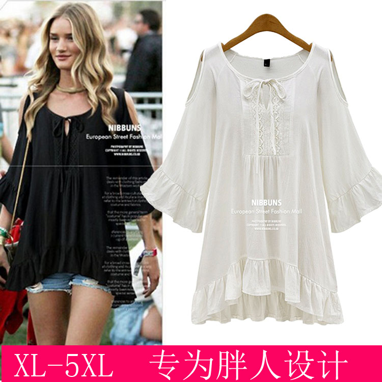 2015 summer Europe styles plus size womens shirt dress cotton tops half sleeve loose casual white black dresses - free city store