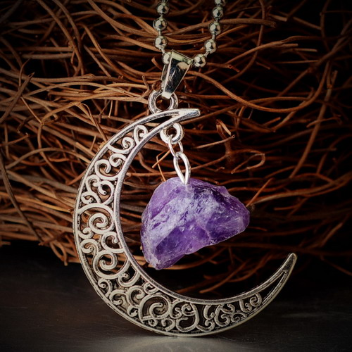 Galaxy Moon Jewelry Purple Quartz Amethyst Natural Stone Turquoise Jade Crystal Pendants Antique Silver Plated Chain Necklace(China (Mainland))