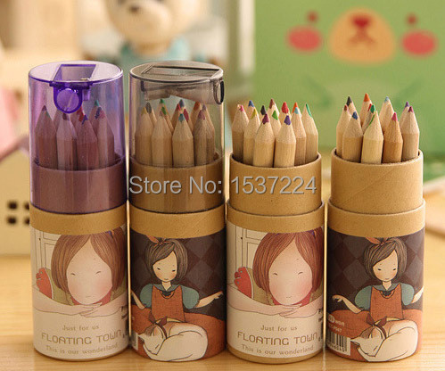 12 PCS/BOX Creative Cartoon Wooden Secret Garden Graffiti Pen Stationery Crayons Drawing Grease pencil Student Prizes Gift(China (Mainland))