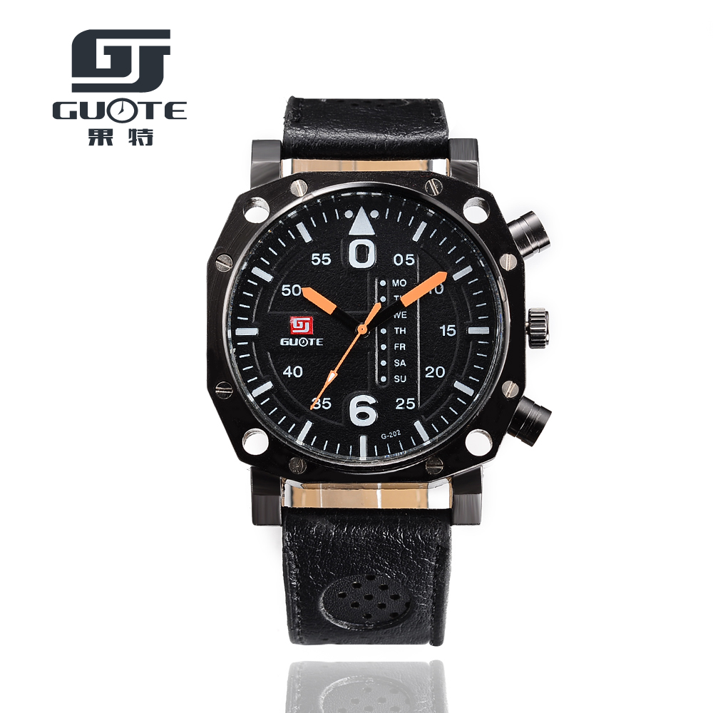 GUOTE 2016 New Brand Business Casual Sport Quartz watch Men Military Watches army Leather Strap wristwatch - Fashion Leader Home store