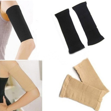 Hot Sale Arm Shaper Women Fat Burning Thin Arm Elastic Sleeve Armband Arm Warmers Black Beige Colors Drop Shipping HB-0222(China (Mainland))
