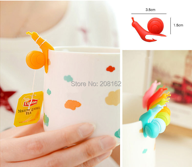Snail Wineglass Label for Hang Tea Bag Colorful Snails Clip Silicon Gifts 6pcs in a pack