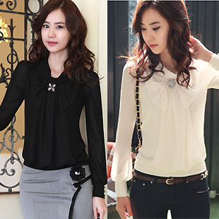 Fashion fashion plus size clothing diamond chiffon shirt female long-sleeve shirt female autumn top