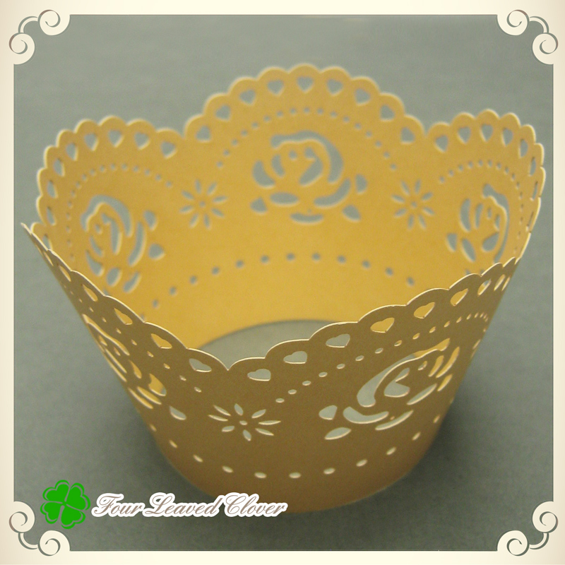 Free Shipping 100pcs GOLD rose Laser Cut Cupcake Wrappers wedding cupcake wrappers favor peal paper cake place(China (Mainland))