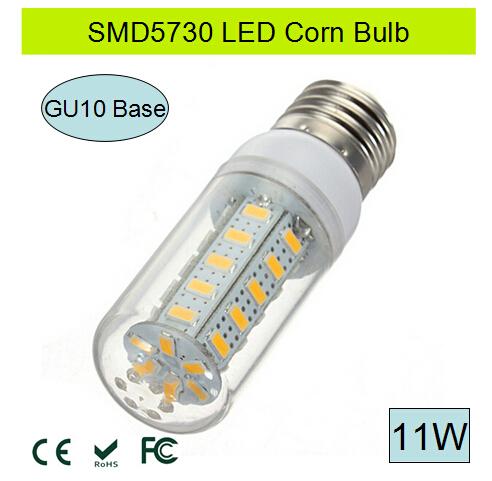 LED bulb light lamp GU10 led 11W AC 220V 110V SMD5730 LED Corn lamp Chandelier GU10 LED Corn Bulb Warm White/White Free Shipping(China (Mainland))