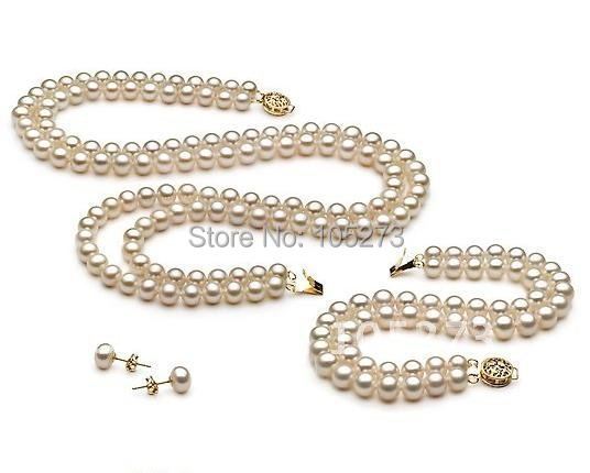 Stunning! AA 7-8MM White color Genuine Freshwater Pearl Necklace bracelet earring Fashion Pearl jewelry set New Free Shipping<br><br>Aliexpress