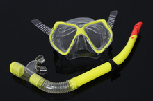 Free Ship Tempered Glass Diving Goggles Semi-dry Snorkel Diving Tube Set Diving Snorkeling Equipment Set Swimming Goggles(China (Mainland))