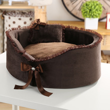Pet kennel High-quality Circular Small dog house lace bow pet nest cat dog beds Send a pillow 2 colour pet products(China (Mainland))