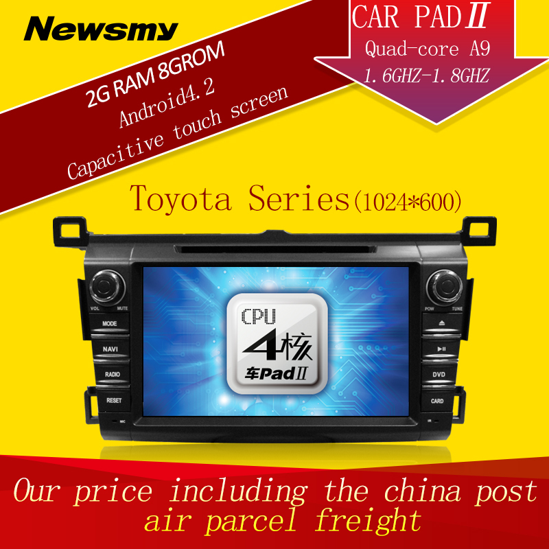 DHL Freeshipping!For Toyota 2014 RAV4 car video recorder radio head unit Android 4.4 Quad-Core 2 Din Car DVD GPS 1024*600 - HUNAN NEWSMY NAVIGATION TECHNOLOGY CO.,LTD store