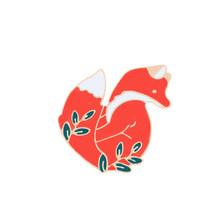 Shshd Kartun Hewan Bros Emas Sliver Red Fox Enamel Pin Daun Wanita Denim Jaket Kerah Pin untuk Wanita Perhiasan lencana(China)
