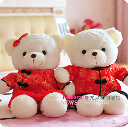 Free shipping wedding gift 50cm lovely teddy bear Chinese element clothing doll a new year gifts juguetes de los cabritos(China (Mainland))