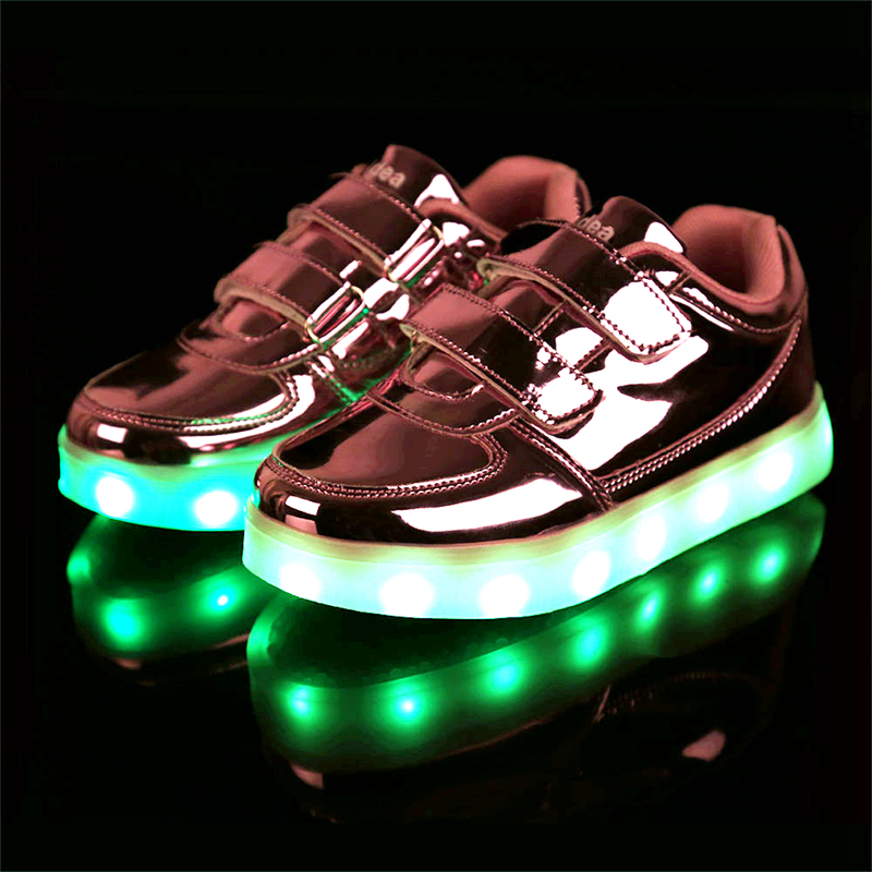 Kid USB Charging LED Light Shoes Soft Leather Casual Boy Girl Luminous Antiskid Bottom Children Sneakers LGA050(China (Mainland))