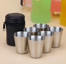 6 Pieces 30ml Cups Leather Box Free Stainless Steel Outdoor Water Cup Wine Beer Whiskey Cups