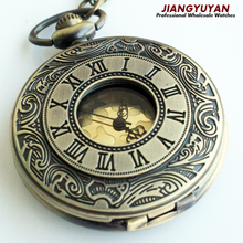 Men Vintage Pocket Watch Retro Antique Watches with Chain Necklace Roman Steampunk Gift for Him Anniversary Weddings Groomsman(Hong Kong)