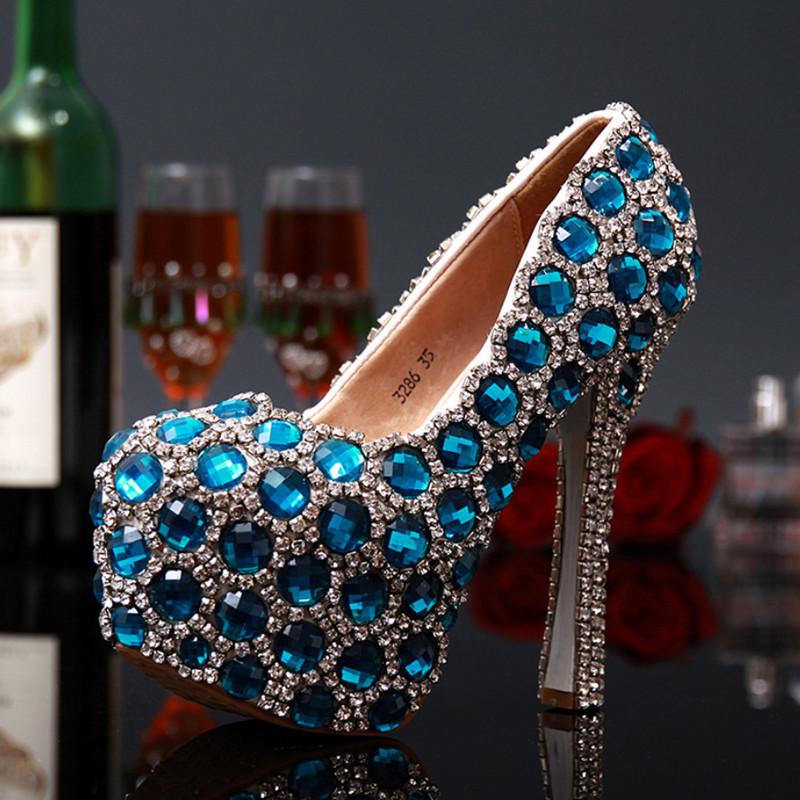 Wedding Shoes Woman Pumps Fashion Rhinestone High Heels Ladies Shoes Handmade Women High Heel Platform Shoes Big Size 31-43