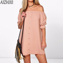 Buy AIZHIXI Beach Style Shoulder Casual Loose Summer Dress 2017 Women's Sexy One Word Shoulder Dress Party Club Dresses for $5.89 in AliExpress store