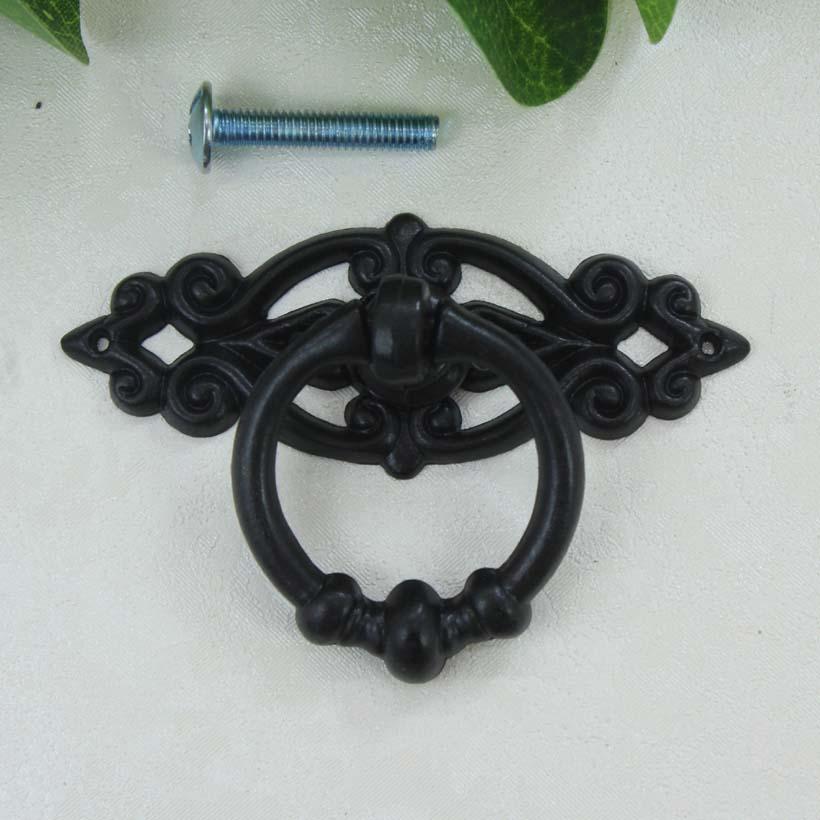 modern simple black shaky drop rings furniture knobs black drawer cabinet pulls knobs antique black dresser cupboard door handle<br><br>Aliexpress