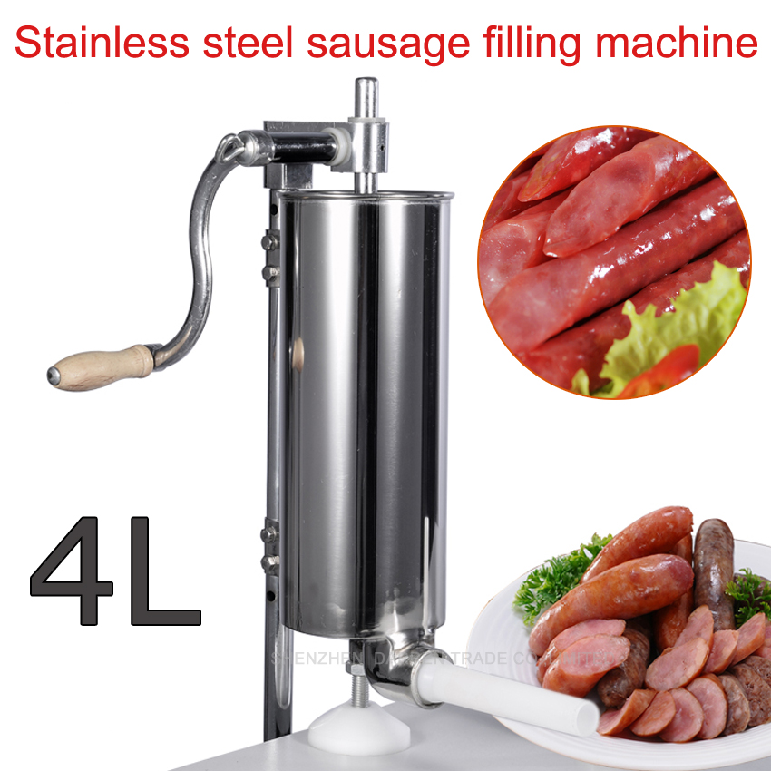 Free DHL 6pc 4L Stainless steel Commercial Household Manual Vertical Sausage Filler Machine with 1.3,1.9,2.2 CM plastic pipe(China (Mainland))