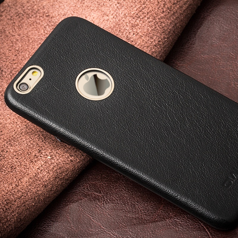 QIALINO High Quality Luxury Bag Metal Rim Slim Genuine Leather Phone Case Cover Shell for iPhone 6s 6 4.7 inch