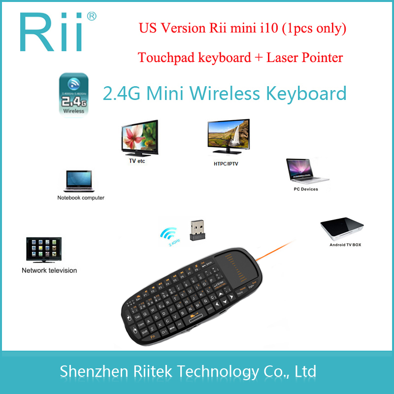 Free shipping 2.4G RF Rii Mini i10 Wireless Keyboard Touchpad mouse Laser Pointer Combo Teclado sem fio for Mini PC Tablet HTPC(China (Mainland))