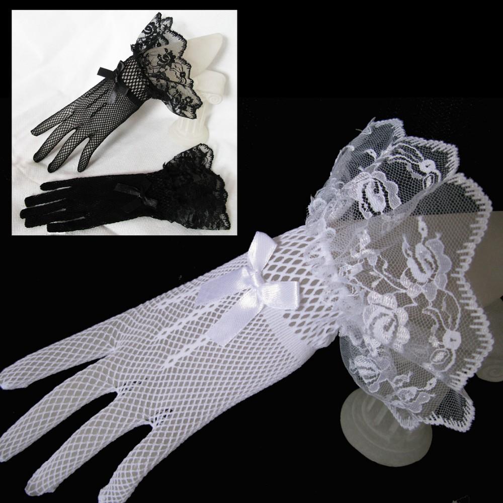 Ivory Black Hot Sale Lace Fishnet Wedding Bridal Gloves Lace Gloves Fingered Gloves For Party Wedding