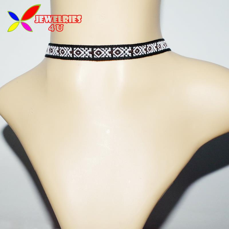2016 New Fashion Popular Nation Style Colorful Embroidery Slim Band Chokers Collar Necklaces for Women(China (Mainland))