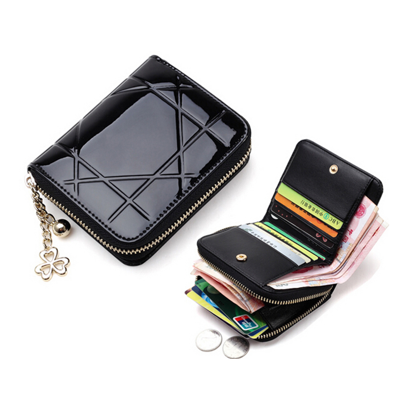 Гаджет  Patent Leather Women Short Wallets Ladies Small Wallet Zipper Roomy Coin Purse Female Credit Card Wallet Purses Money Bag AA289 None Камера и Сумки