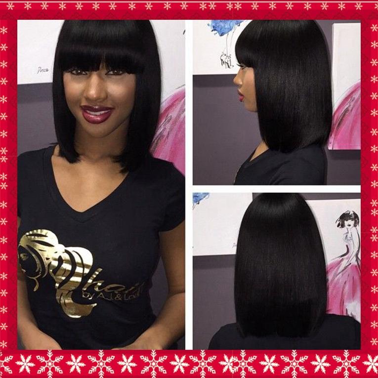 Short bob hair full bangs no lace wig for fashion woman 1b# off black ,silky straight 12inch 150%high density(China (Mainland))
