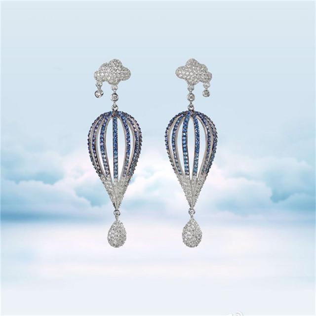 Cute Pierced Clouds Hot Air Balloon Earrings Flash Crystal Drop Earrings Star Class Long Section Earrings for Women EA116(China (Mainland))