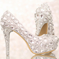 Luxury Crystal Silver Wedding Shoes High Heel Bridal Shoe with Platform Anniversary Party Nightclub Prom Shoes