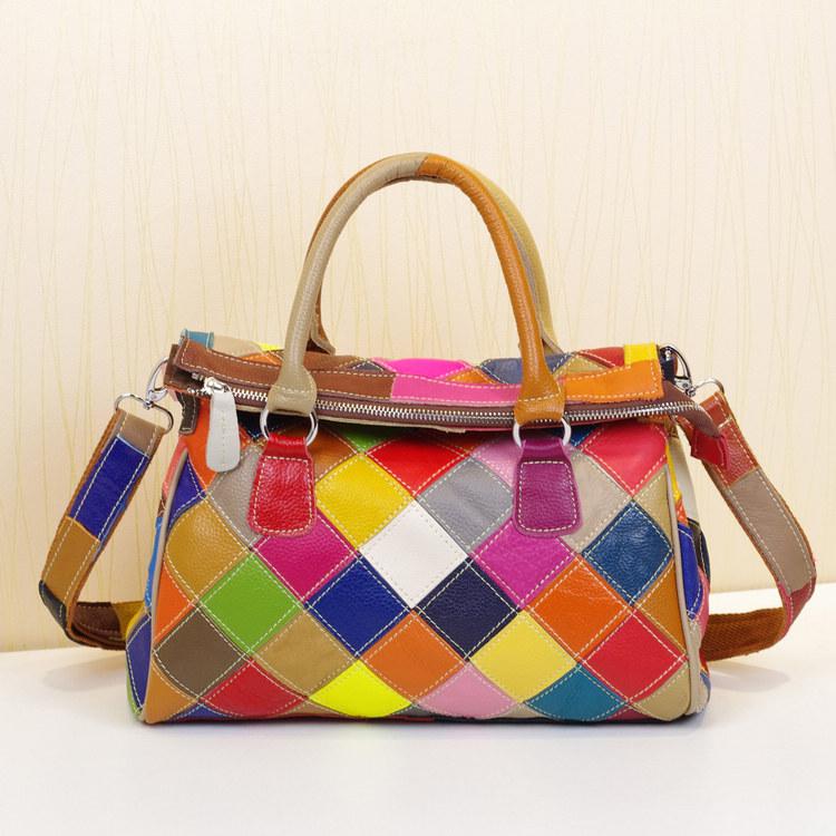 Genuine leather womens handbag casual personality unique multi-colored cowhide colorant match bag cross-body handbag<br><br>Aliexpress