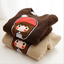 2015 New Kids warm coat lamb wool dress girl clothes cartoon clothes khaki coffee color   SY014(China (Mainland))
