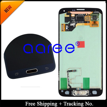 Free shipping Test Original For Samsung Galaxy S5 G900 G900F LCD display touch Screen Assembly with button +Sticker -White/Black