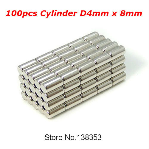100pcs Bulk Neodymium Fridge Warhammer Craft Magnets Dia 4mm x 8mm N35 Super Strong NdFeB Bar Cylinder Rod Magnet<br><br>Aliexpress