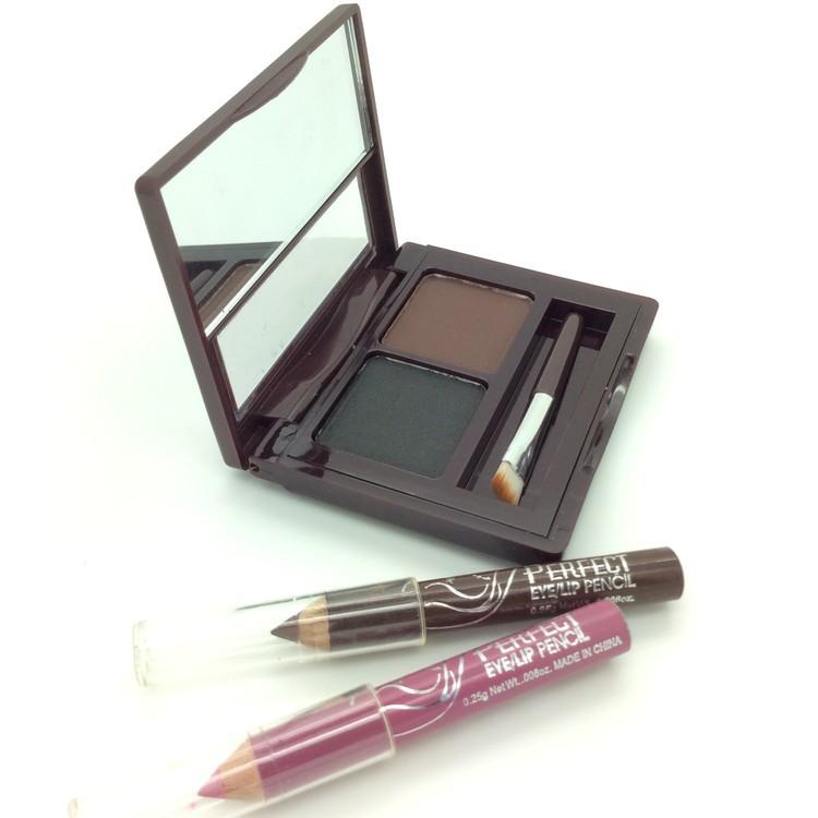 Eye Shadow Eyebrow Makeup Set 2 Colour Waterproof Eyebrow Cake Powder Palette + 2pcs Eyeliner Pencil + Brush Eye Brow Eyeshadow(China (Mainland))