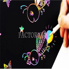 Free Shipping 10 Sheets 16K Colorful Magic Scratch Art Painting Paper With Drawing Stick 4019-058(China (Mainland))
